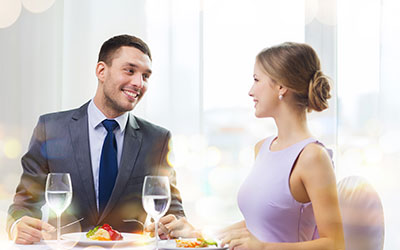 Couple eating a beautiful meal