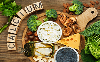 An assortment of foods high in calcium